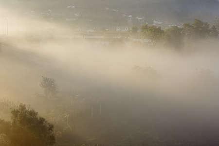 Northern portuguese rural landscape at dawn. Archivio Fotografico