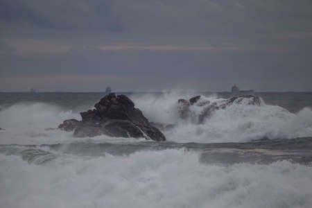 Overcast seascape. Northern portuguese coast rocky cost before rain and storm. end of the day light