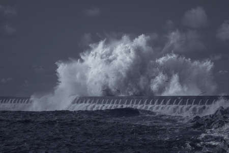 Huge stormy sea wave splash. Infrared - R72. Archivio Fotografico