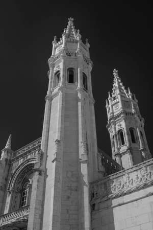 Architectural details of the beautiful Jerónimos Monastery, Lisbon. An infrared filter, R72, was used.