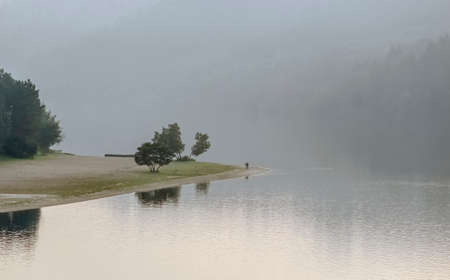 Douro river in a misty day, north of Portugal.