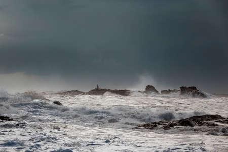 Stormy seascape. Northern Portuguese ciast. Archivio Fotografico