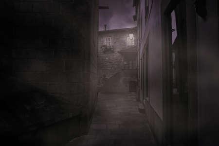 Foggy medieval alley by night, Archivio Fotografico