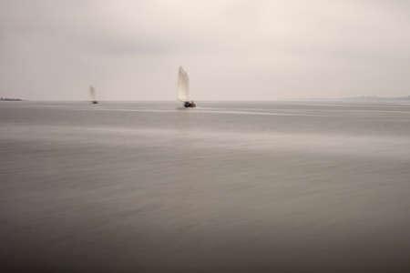 Traditional sail boat from Ria de Aveiro, Portugal. Long exposure. Archivio Fotografico