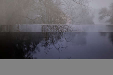 Mysterious foggy forest river at night seeing watermill.