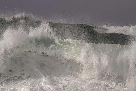 Big breaking waves closeup. Northern Portuguese coast.