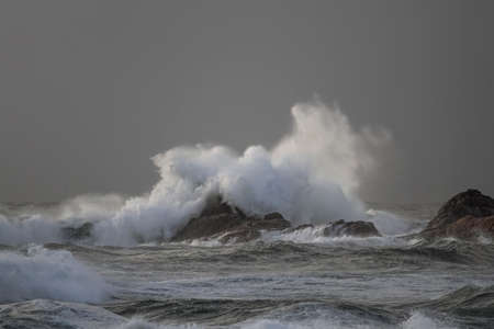 Storm on the coast seeing big wave breaking over rocks and cliffs seeing splash and spray at sunset Archivio Fotografico