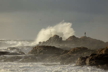 Northern portuguese rocky coast in a stormy and wet end of the day