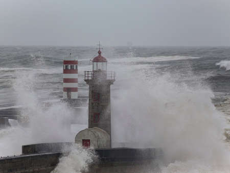 Douro river mouth during storm, Porto, Portugal.