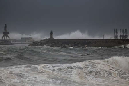 Leixoes harbor entrance in a stormy late evening, north of Portugal.