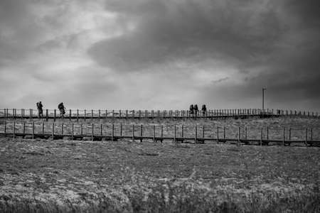 In pilgrins on the Portuguese way of Santiago by the coast. Converted black and white. Archivio Fotografico