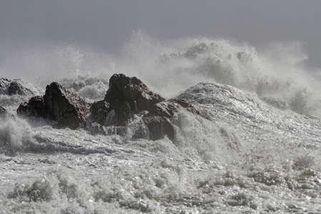 Big wave splash in a rough sea day.. Archivio Fotografico