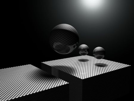 subjective: The shadows of three overlapping spheres of two rectangles, suggesting the face of a robot.