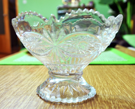 Beautiful Crystal Vase On The Table In The Living Room Novi Stock