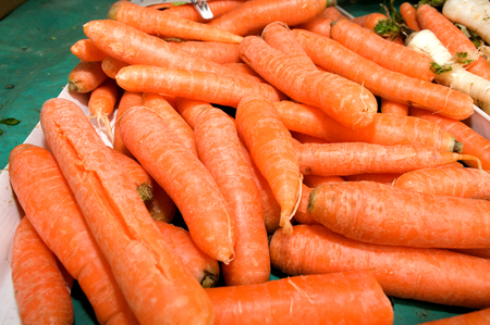 Dozens of carrot randomly piled up, Novi Sad, Serbia Stock Photo