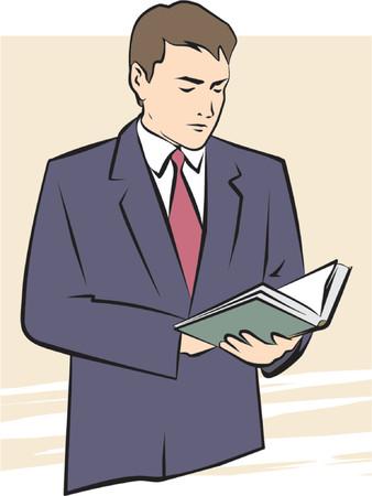 그의 손에 책을 들고 남자의 벡터 일러스트 레이 션