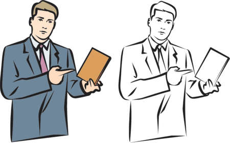 Vector image of a Man, pointing at Book. You can easily change the colors in this image the way you like Vector