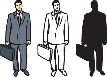 suit case: Man with Briefcase (Vector)