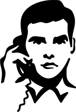 moneymaker: Vector Illustration of a Man speaking on the Telephone. You can easily change the color in this image the way you like
