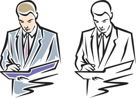 moneymaker: Vector Illustration of writing Man. You can change the colors in this image the way you like