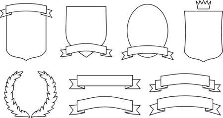Vector emblems, crests, shields and scrolls. This is a vector image - you can simply edit colors and shapes. Vector