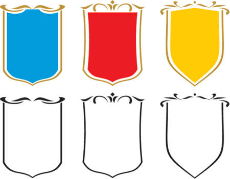 Set of  vector emblems, crests and shields. This is a vector image - you can simply edit colors and shapes. Vector