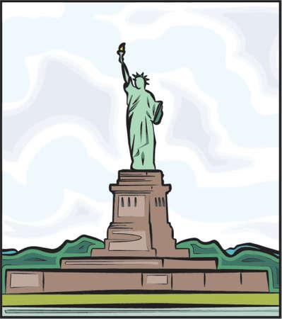 sehnsucht: Die Freiheitsstatue in New York. Vector Illustration  Illustration