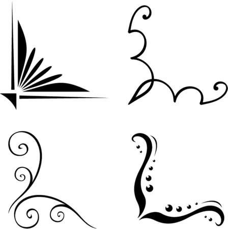 Ensemble de vecteur coin ornements originaux. Ceci est un vecteur d'image - il vous suffit de modifier les couleurs et les formes.
