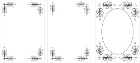 Set of original vector Black & White decorative frames. Laurel branches. This is a vector image - you can simply edit colors and shapes. Vector