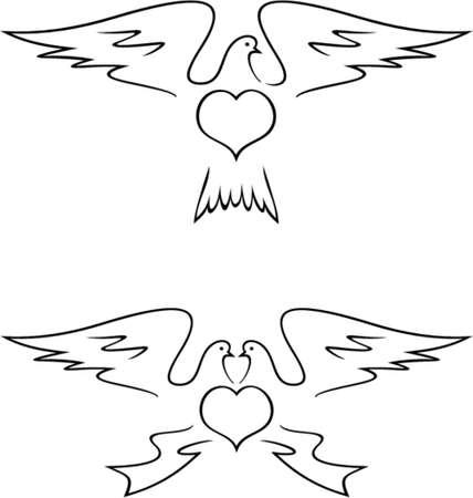 pigeons: Doves (Vector). Ceci est un vecteur d'image - vous pouvez simplement modifier des couleurs et des formes