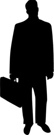 moneymaker: Business Man with Briefcase Silhouette. This is a vector image - you can simply edit colors and shapes. Illustration
