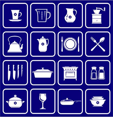 De pictogrammen van de keukengerei