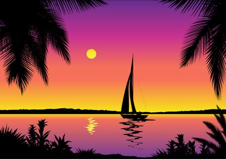 Tropische zeezicht met zeilboot