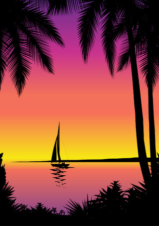 Tropical sea scene with sailboat Illustration