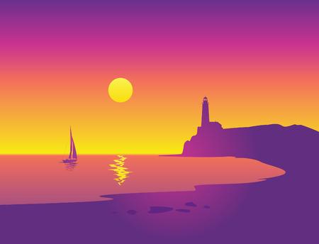 Hermoso paisaje marino con faro y velero