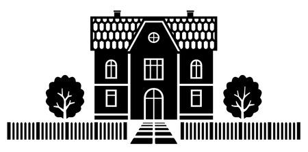 Land-Haus-Vektor-Abbildung