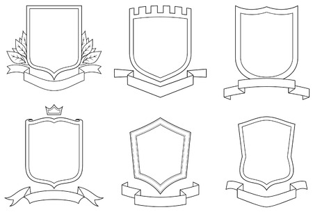 Set of vector emblems, crests, shields and scrolls Stock Vector - 4961595