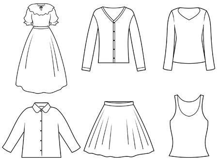 Damskie ubrania Ilustracje wektorowe