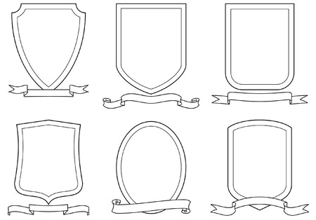 Set of vector emblems, shields and scrolls Stock Vector - 4961568