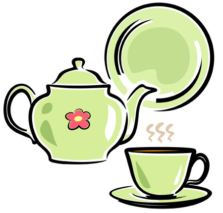 Teapot, Cup and Dish (Vector Illustration)