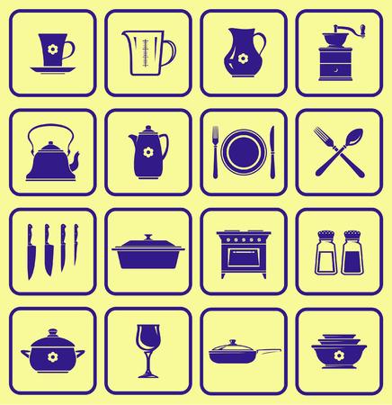 Keukengerei icon set (vector)