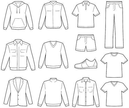 Ilustracja przypadkowym odzież męska