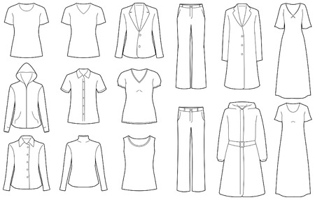 Womens clothes isolated Vectores