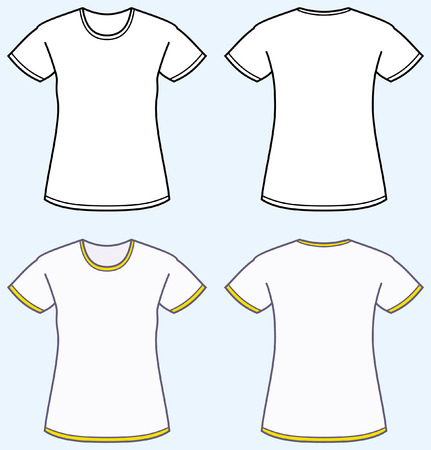 Women's t-shirt (front and back view) Иллюстрация