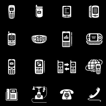 Telephones, mobile phones and devices vector icon set