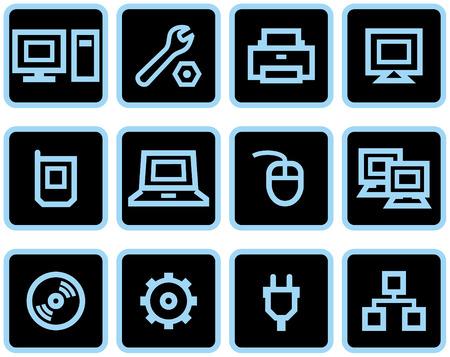 Vector web icons set – Hardware  Vectores