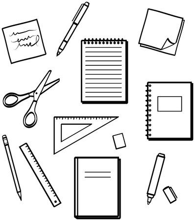 Fournitures de bureau - illustrations vectorielles Vecteurs