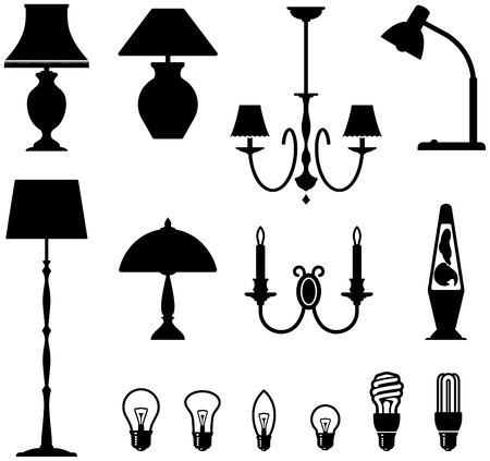 Electric lamps, chandeliers and light bulbs Фото со стока - 5301321