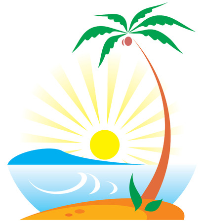 Tropical Scene with Palm Tree