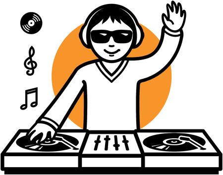 Party DJ at turntable illustration